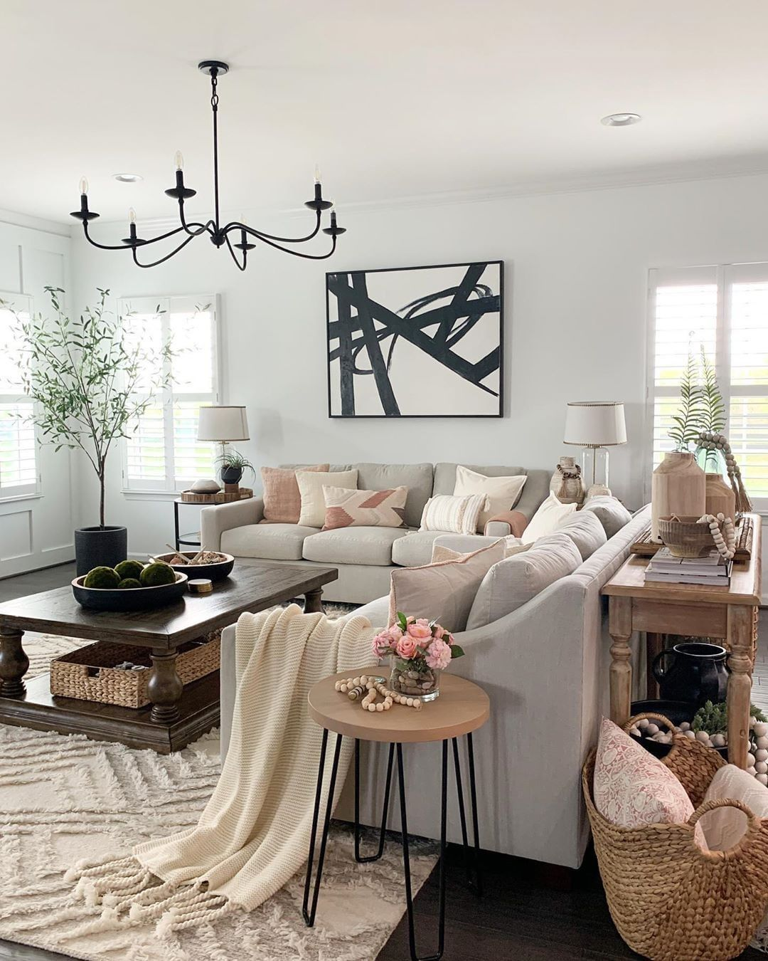 Gorgeous Living Room Idea With Grey Sofas Abstract Wall Art