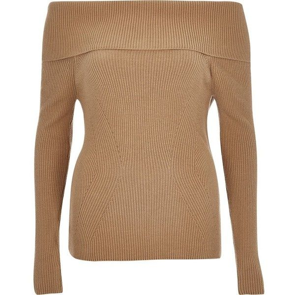 b5d81c521db River Island Beige bardot long sleeve sweater ( 70) ❤ liked on Polyvore  featuring tops