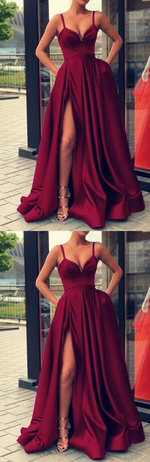 Sexy spaghetti straps vneck long satin evening gowns leg split prom