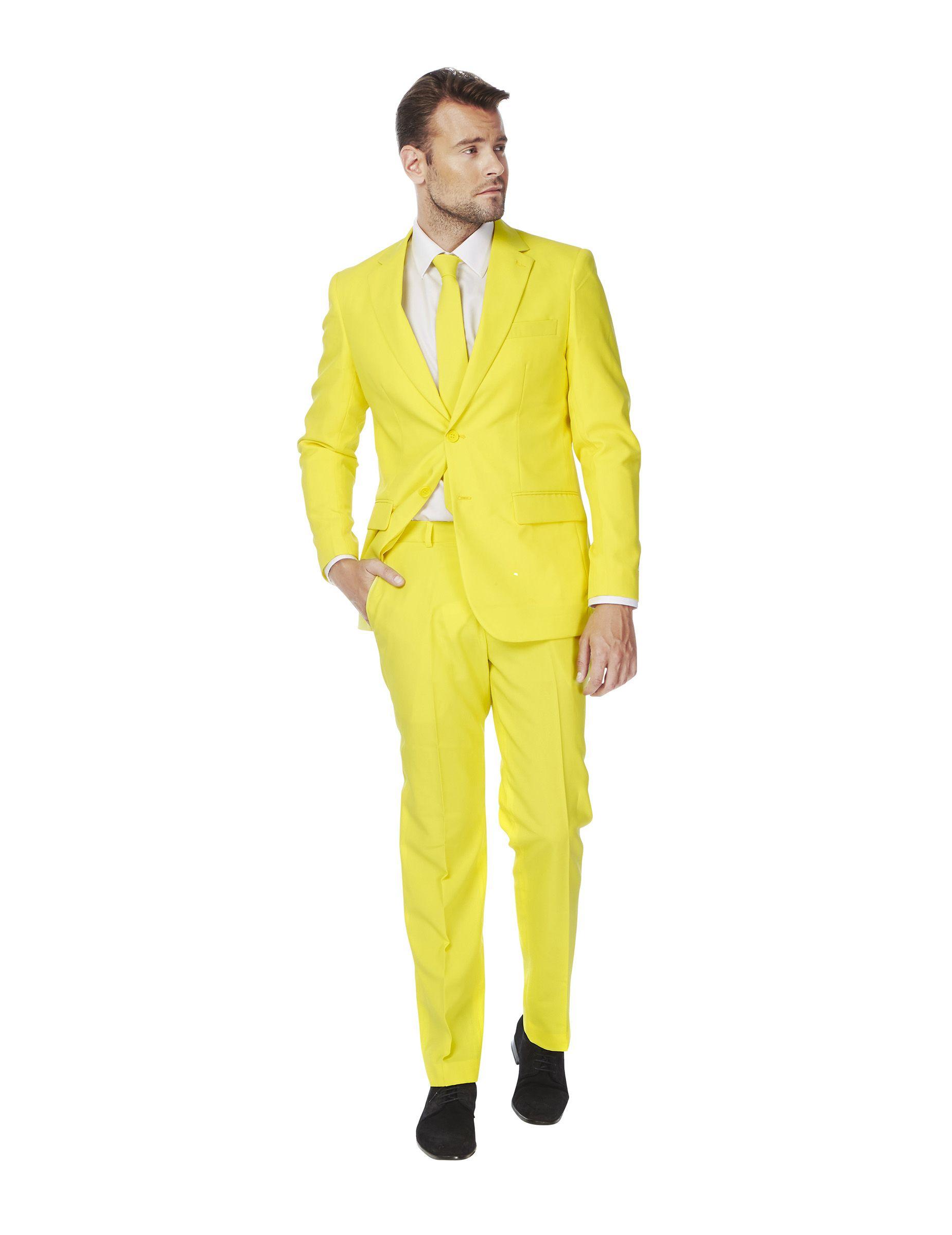 e1e65667ae Traje Mr. Amarillo hombre Opposuits™  Este traje para hombre es de la marca  Opposuits™.Es de color amarillo e incluye chaqueta