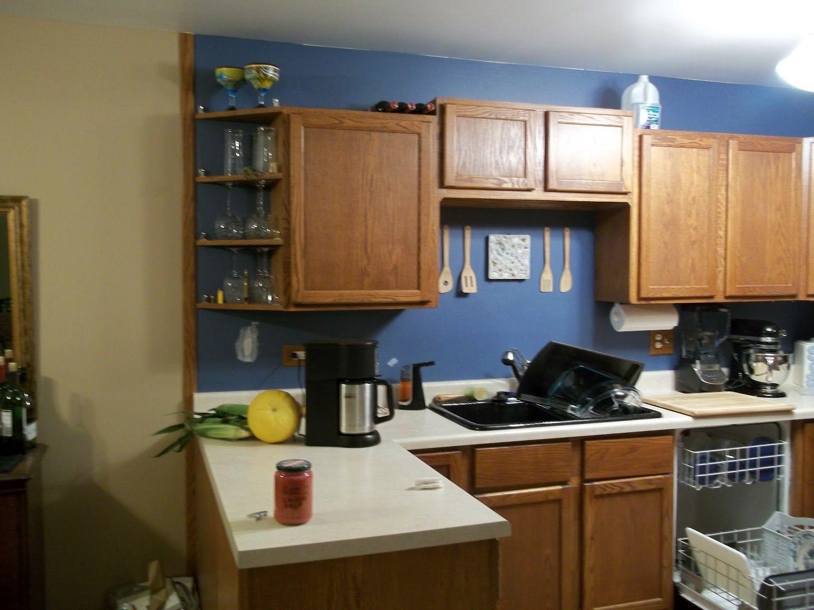 Light Blue Kitchen Walls Ideas 5908 Baytownkitchen Blue Kitchen Walls Brown Kitchen Cabinets Kitchen Design Decor