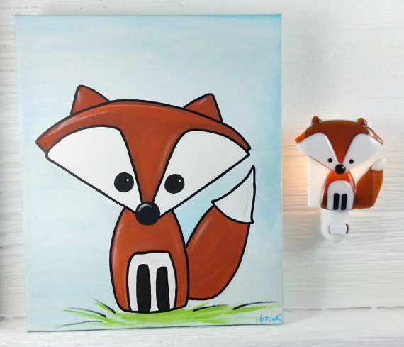 Duo veilleuse et toile renard peinture verre par VeilleSurToi