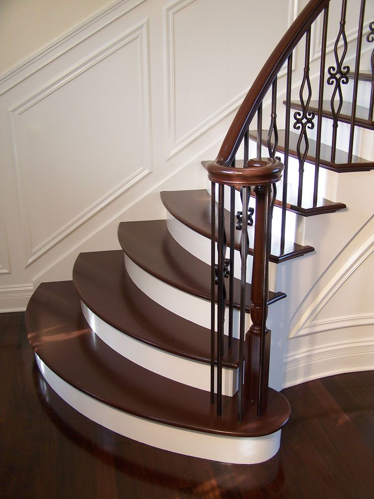 Delightful Gorgeous Wrought Iron Balluster Stairs With Painted Treads And Risers
