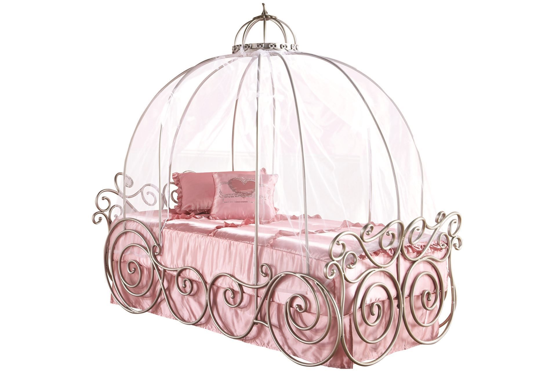 Disney Princess Twin Carriage Bed Living Spaces Cute Furniture Frame Tenda Fiber Untuk Dome Enchanting For Kid Bedroom Ideas Silver Iron With
