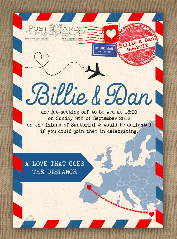Airmail Love Story Travel Themed Vintage Style Wedding Invitation By In The  Treehouse   Just Love