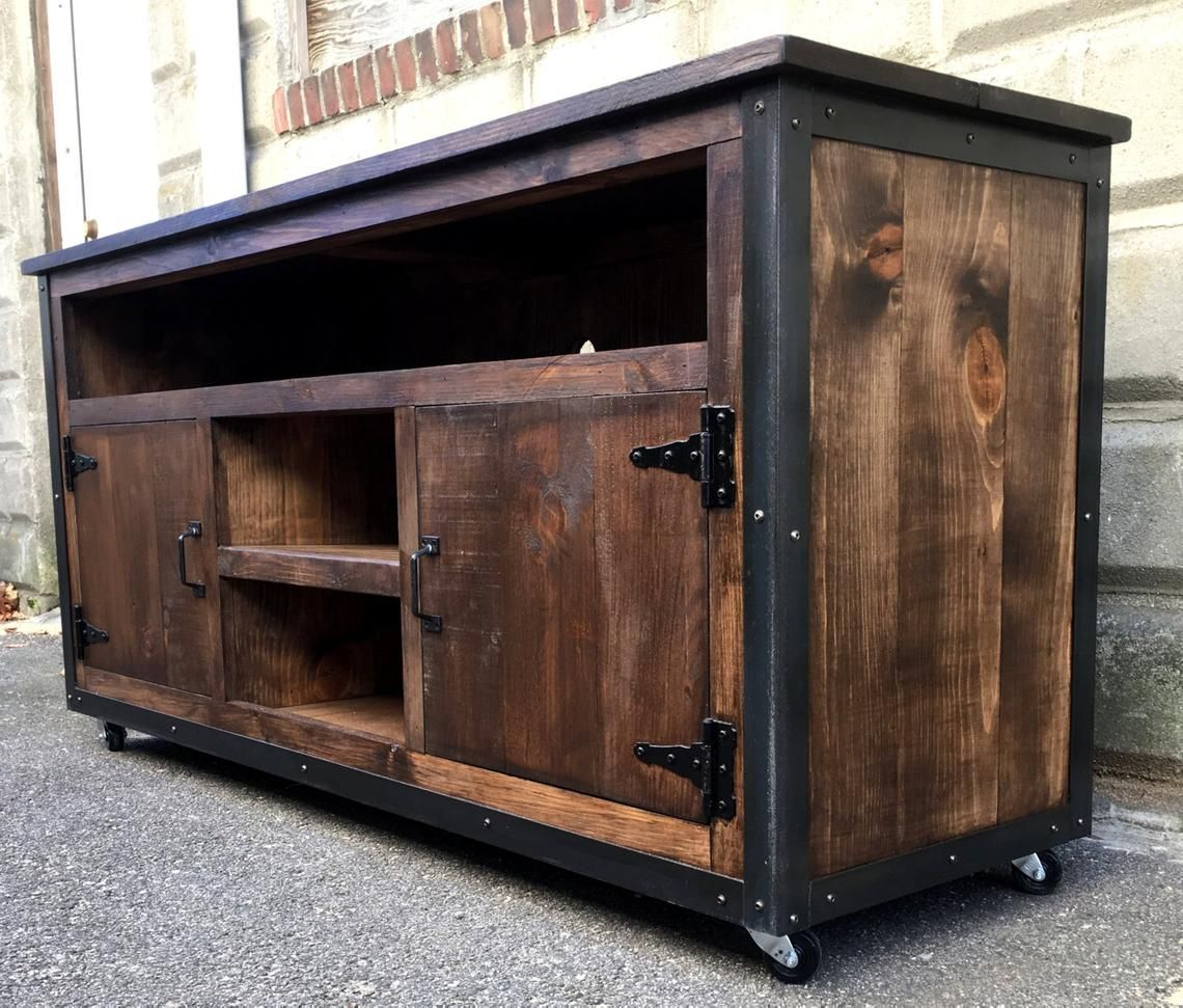 Rustic Industrial barn board entertainment center TV stand ...