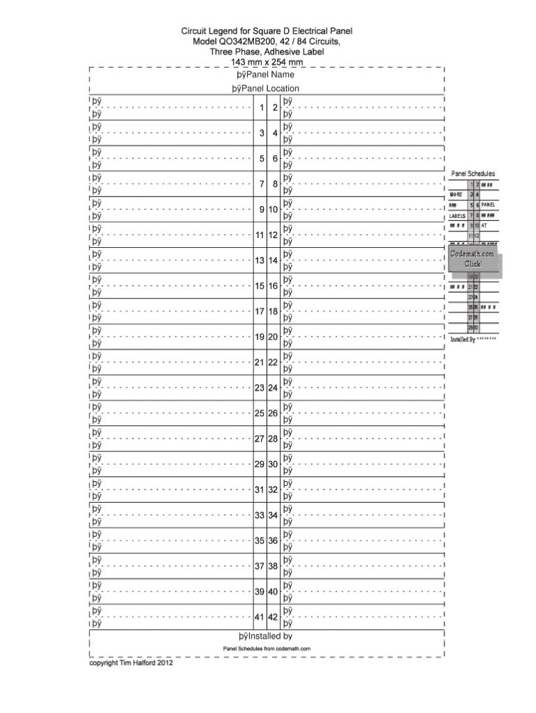 Breaker Box Directory Template Fill Online Printable Fillable With Regard To Breaker Box Label
