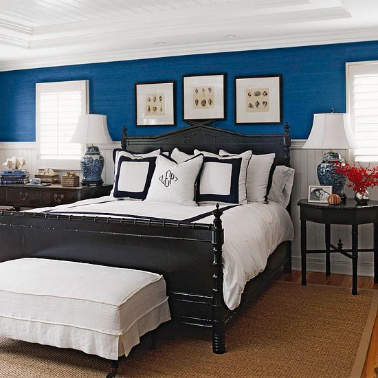 46 Real Life Bedrooms That Wow Navy Bedroom Walls Bedroom Wall Home