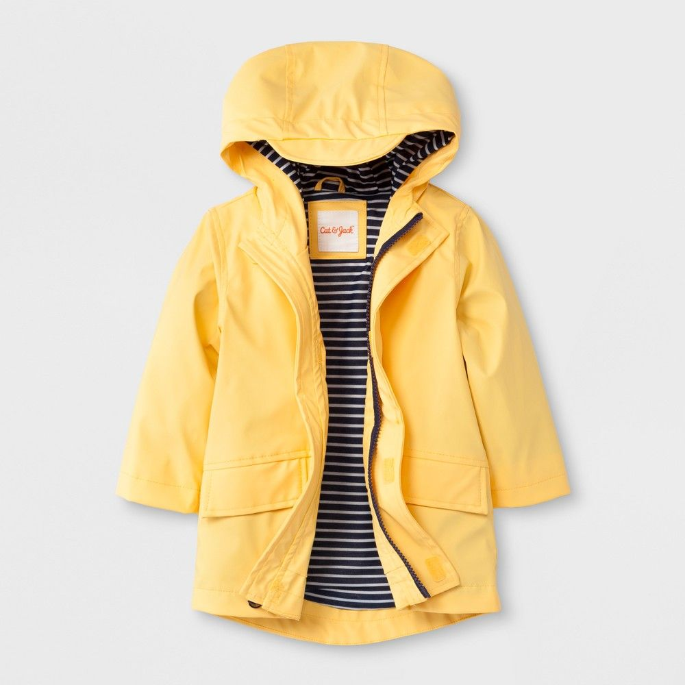 197bc01a6f32 Toddler Boys  Solid Hooded Rain Jacket - Cat   Jack Yellow 12M ...