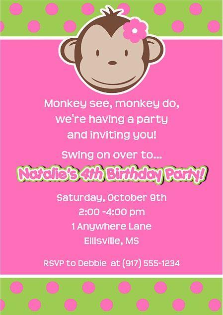 Mod monkey birthday party invitations girl baby shower pinterest mod monkey birthday party invitations girl filmwisefo Choice Image
