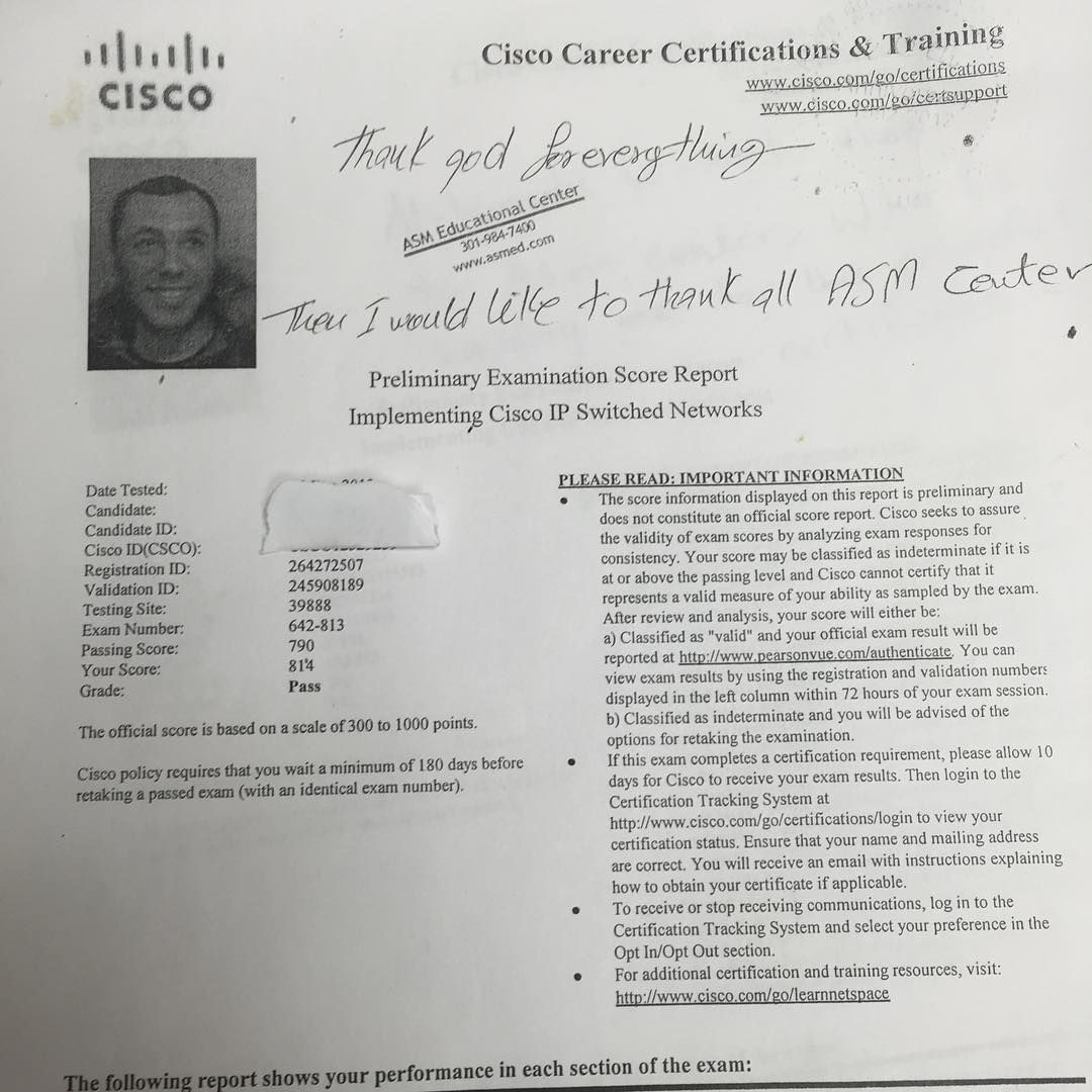 We are proud of our student who has passed their CISCO switch exam. CompTIA ,Certification ,CCNA ,CCNP,success