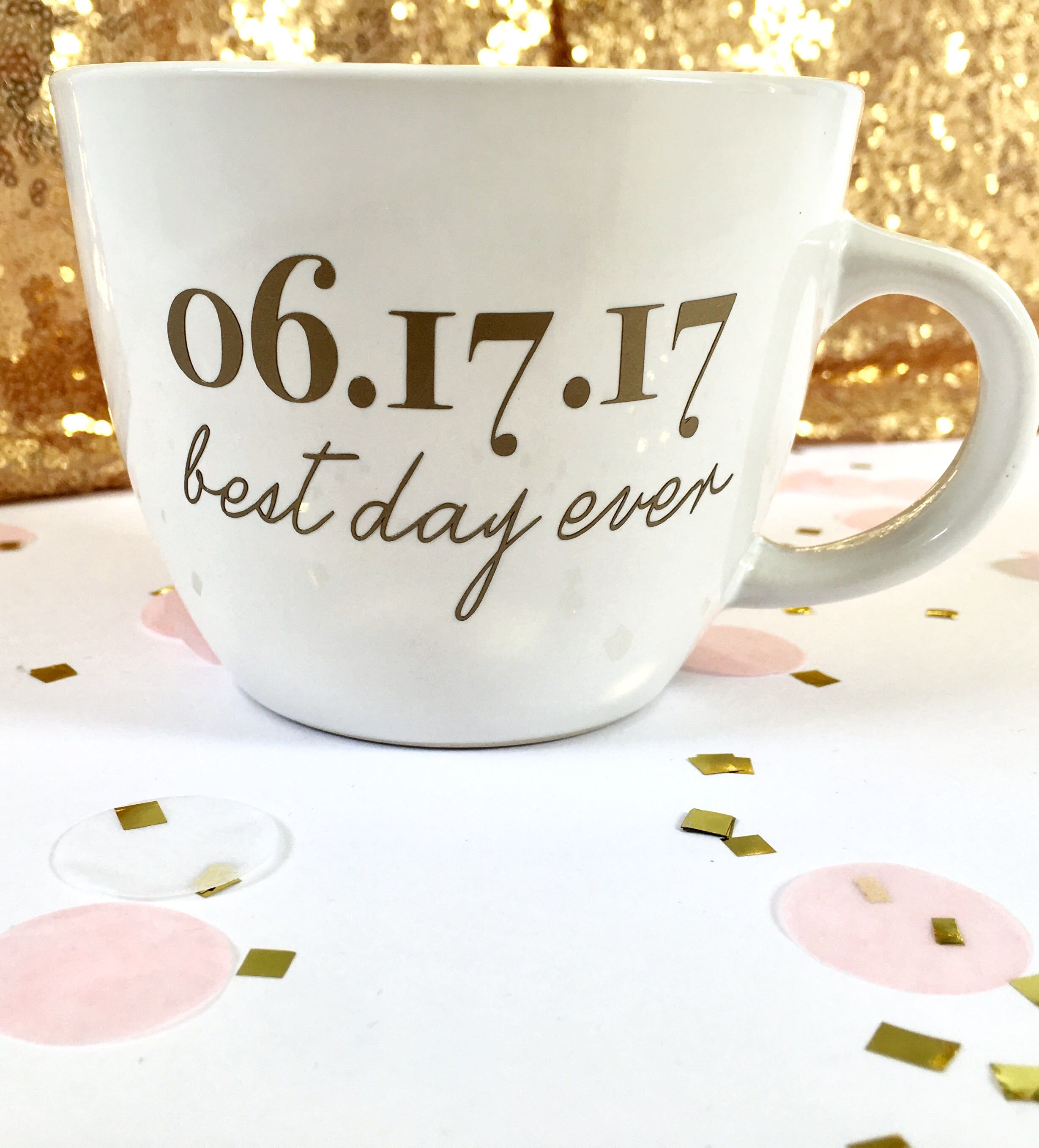 Best Day Ever Custom Date Coffee Mug with left handed