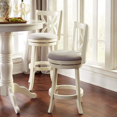 Holbrook White Swivel Counter Bar Stool Bar Stools With Backs