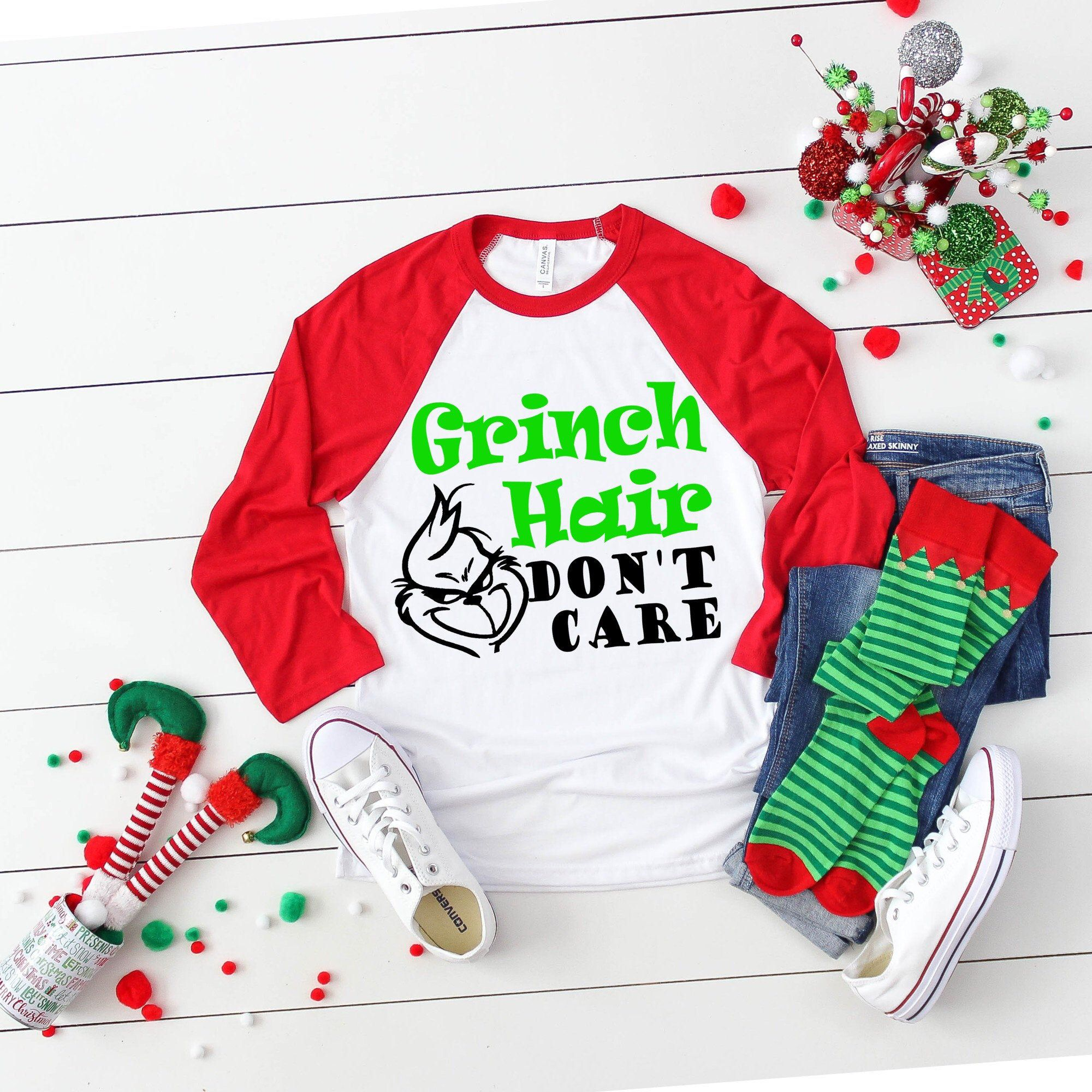 christmas shirt svg, christmas svg, Grinch hair don't care