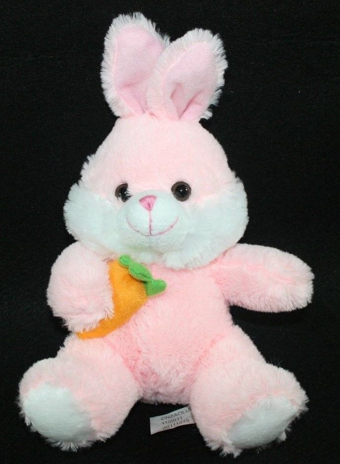 Fluffy Pink Bunny Rabbit With Carrot Plush Stuffed Animal Toy 10