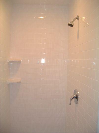 Subway Tile Shower With Nice Corner Shelves Ceramic Tile