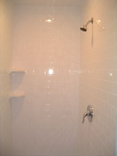 Subway tile shower with nice corner shelves | Bathroom | Pinterest ...