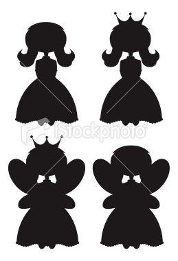 Cute Fairy Princess Silhouettes Royalty Free Stock Vector Art Illustration