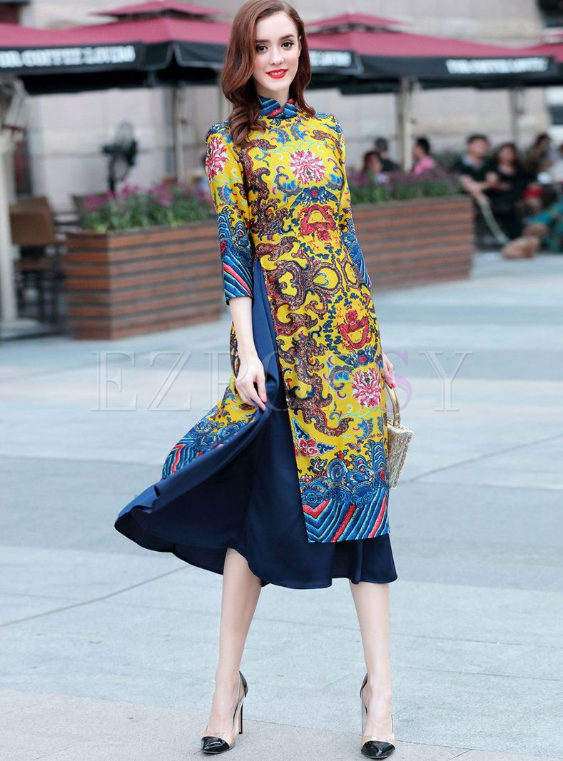 Shop for high quality Retro Asymmetric Patch Print Maxi Dress online at cheap prices and discover fashion at Ezpopsy.com