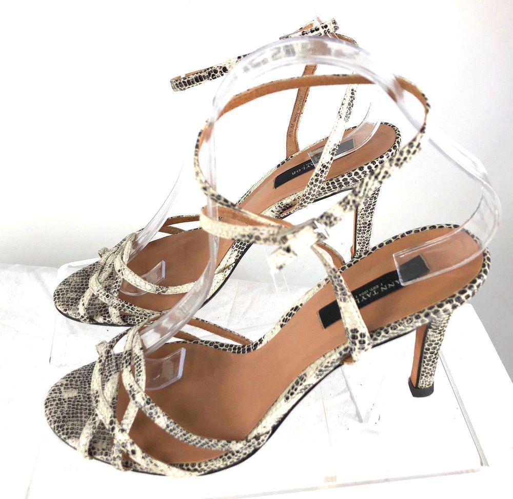 ecb7b42993f8 Ann Taylor Size 8.5M Heels Wraparound Ankle Strap Leather Snake Print  Sandals