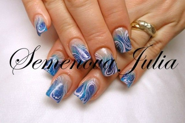 n gel muster yulia 2014 blau fanatisch nageldesign bilder by world nails nailart galerie