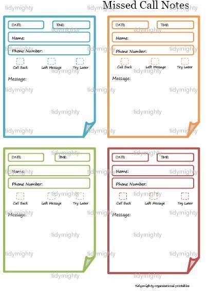 Missed Call \/ Phone Message Notes \/ Tracker - Printable PDF - phone sheet template