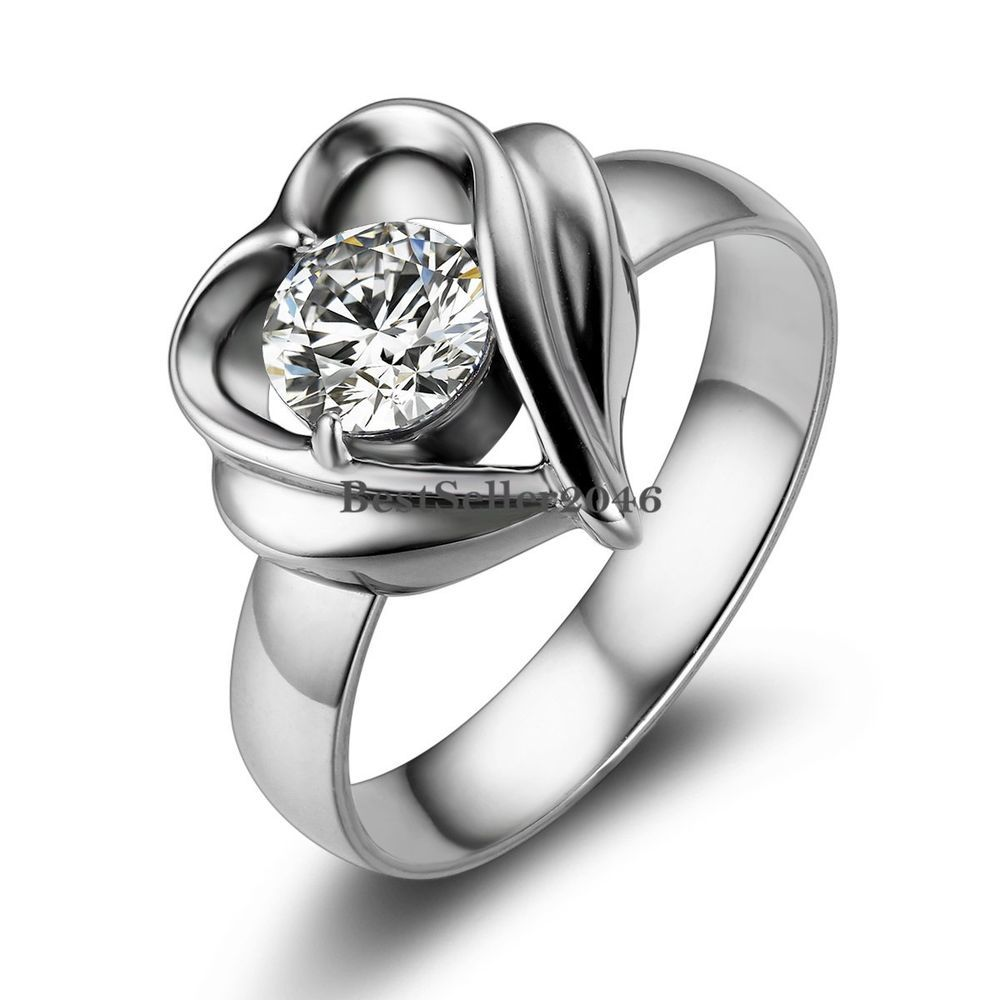Silver Stainless Steel Open Heart Round Cz Womens Las Love Wedding Band Ring