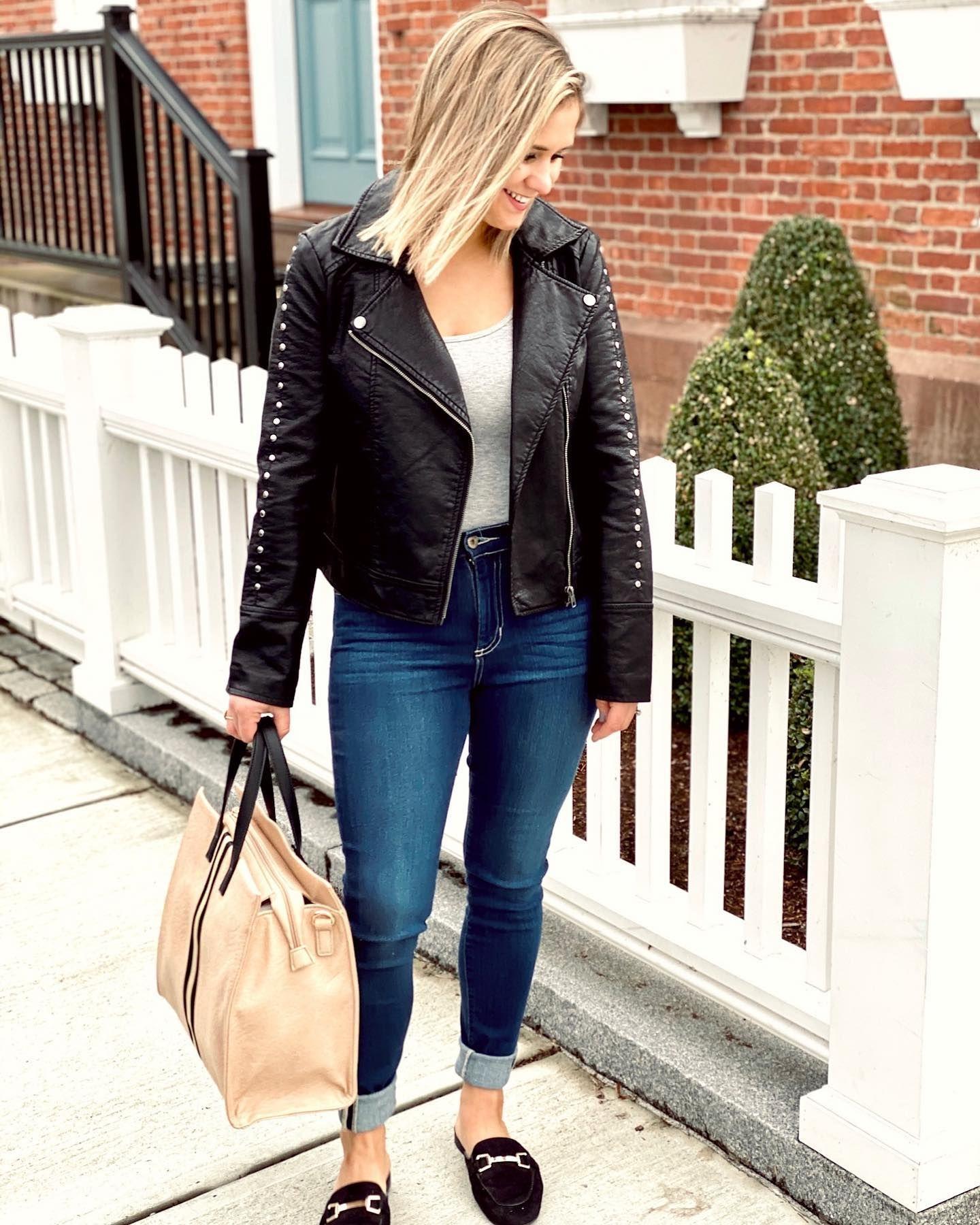 Crushing On This New Leather Jacket Checkout Those Studs Pearlsandplaid Leather Jacket Fashion Style [ 1800 x 1440 Pixel ]