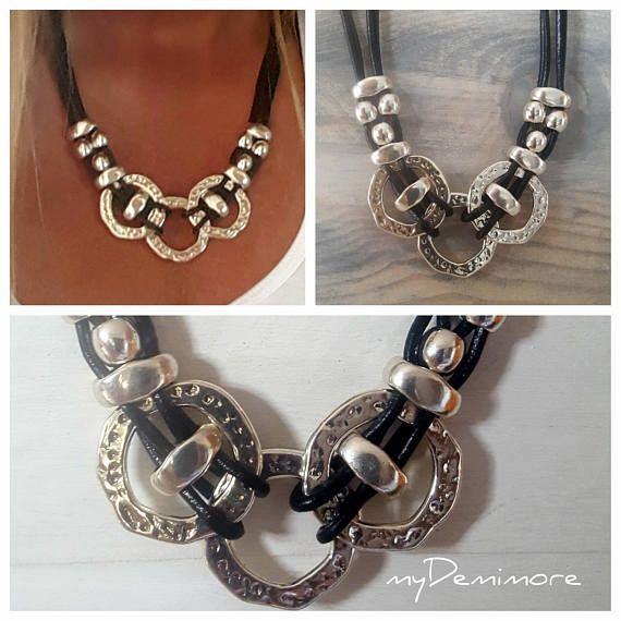 5d204b0c0749 awesome collar de cuero de mujer anillo sin fin contraparte de la anillos  bisuteria with bisuteria de cuero