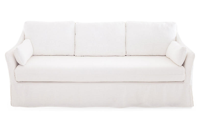 Hania Slipcovered Sofa, White Linen Now: $1,599.00 Was: $1,995.00 ...
