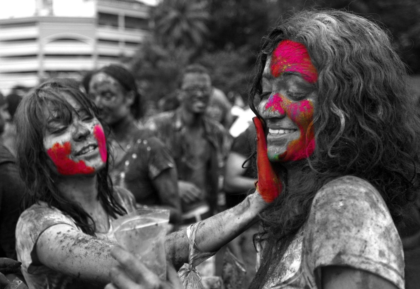 Holi Indian Festival Black And White Photography With Color - Black and white photography with color accents