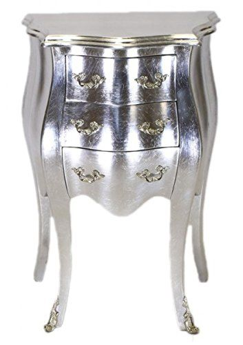 Casa Padrino Barock Kommode Silber H 70 cm, B 50 cm - Nachttisch ...