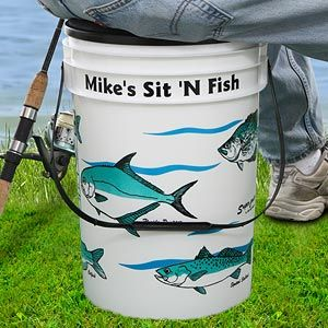 Sit 39 n fish personalized bucket cooler buckets for Fishing bucket seat