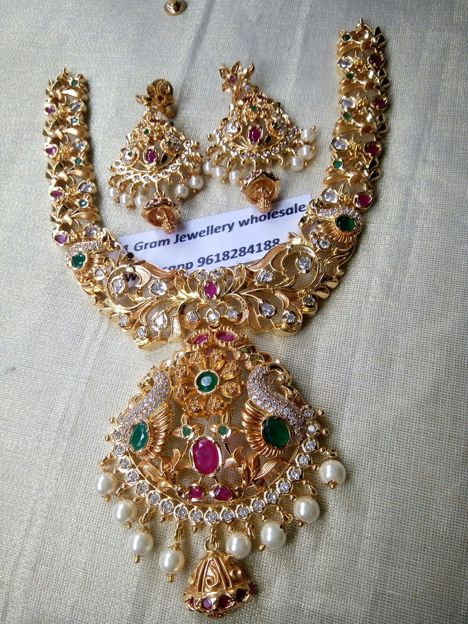 6428c9b7b18 1 gram gold jewellery wholesale. Contact   9618284188.