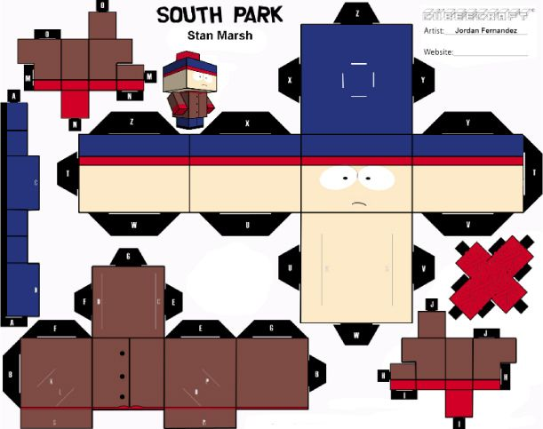 Blog Paper Toy Papertoys South Park Stan Template Preview X4