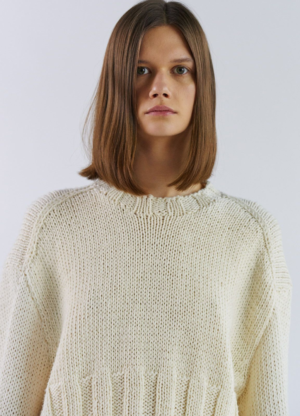 e6ac5ea95a0 Long Sleeves Sweater in Hand Made Wool and Paper Knit - Spring   Summer  Runway 2017