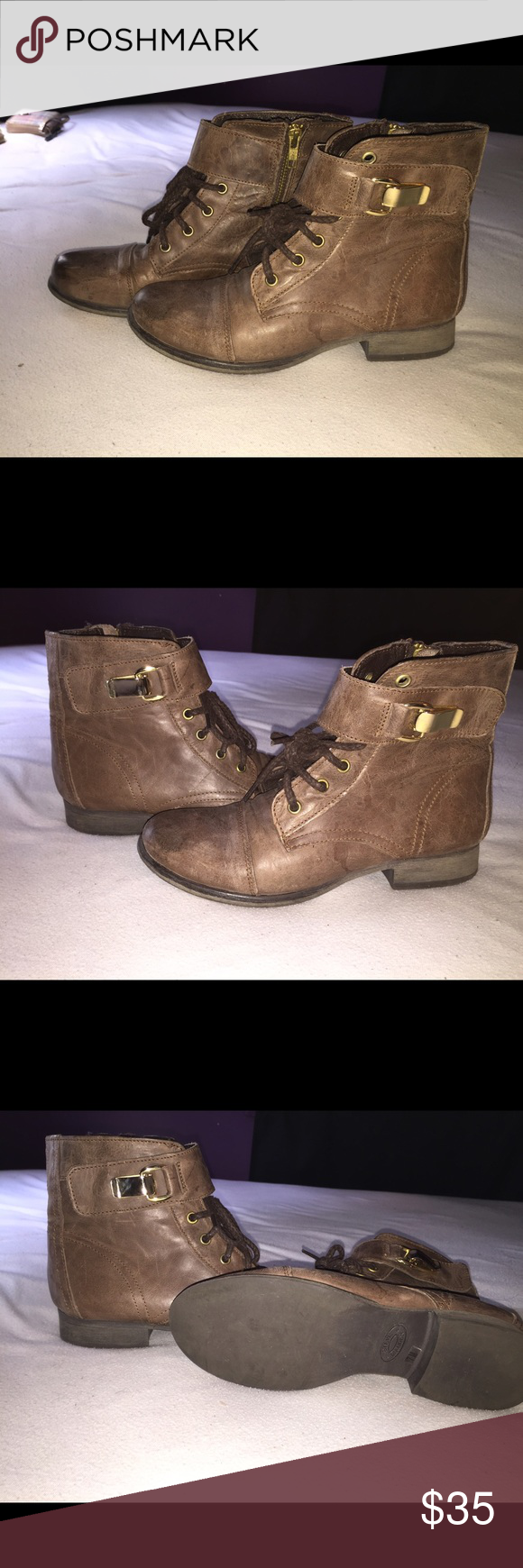 Cognac Steve Madden booties Super cute leather cognac Steve Madden booties size 7. Like new, Worn once Steve Madden Shoes Ankle Boots & Booties