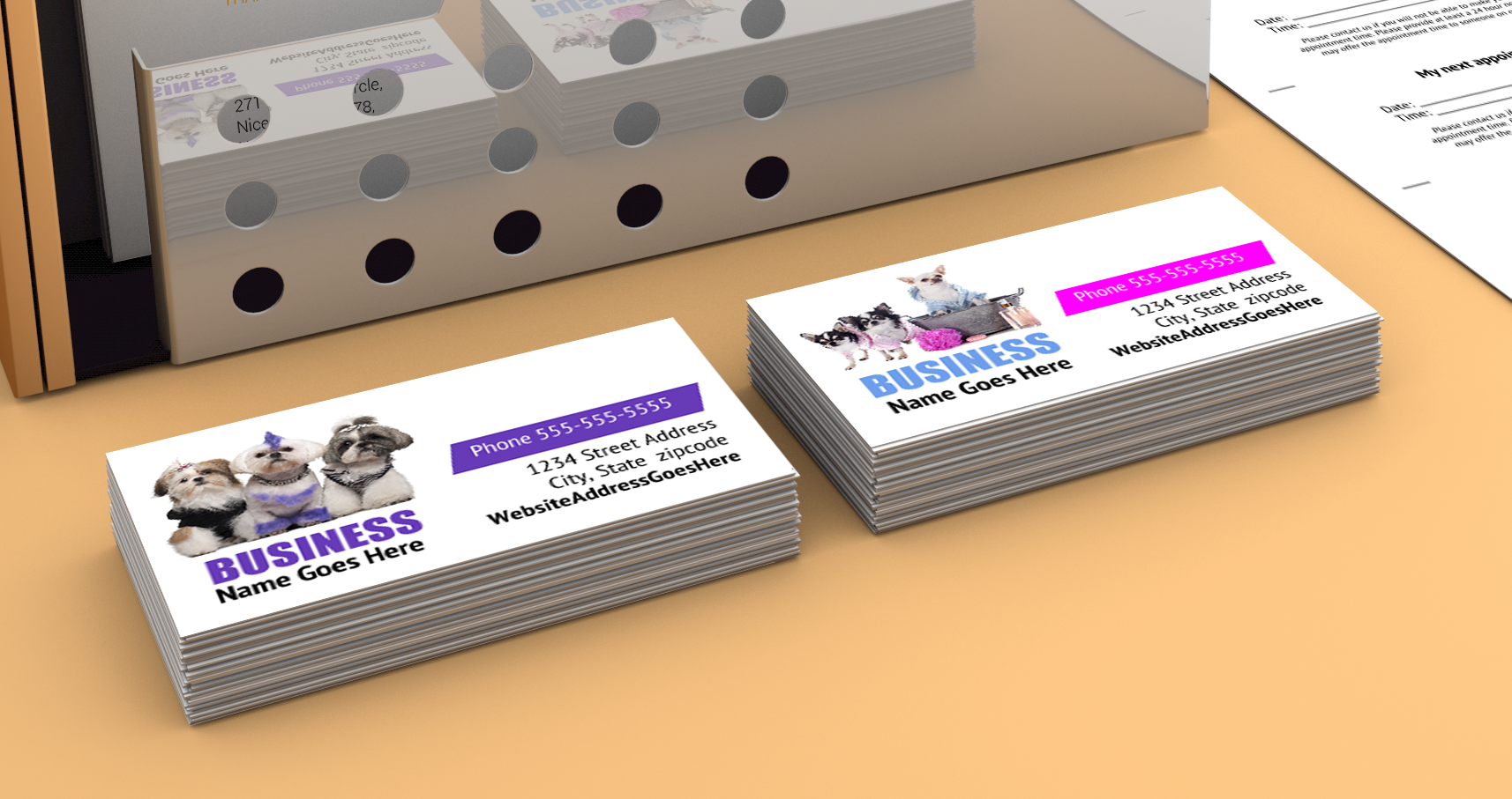 Print your own dog grooming business cards and appointment reminder ...
