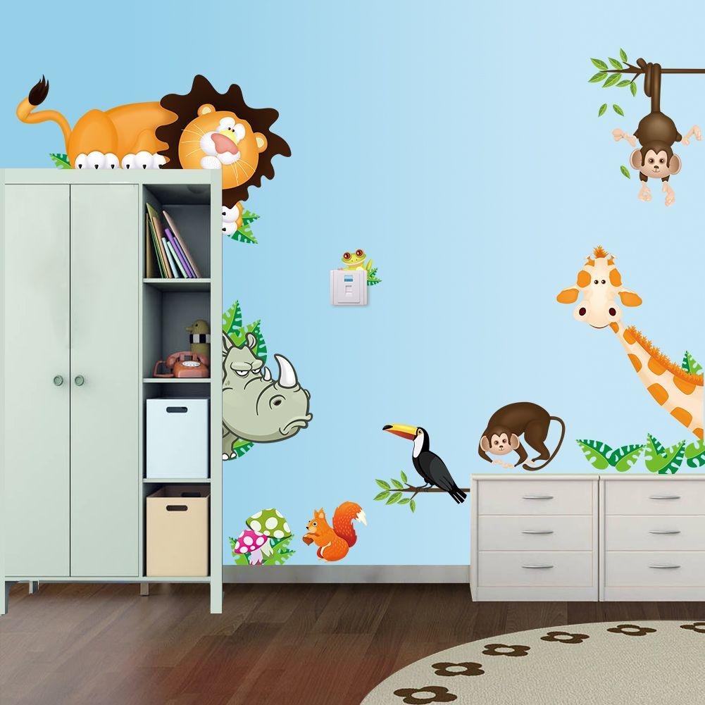 Foam Stickers Babykamer.Een Muursticker Voor De Kinderkamer Met Allemaal Safari Dieren Plak
