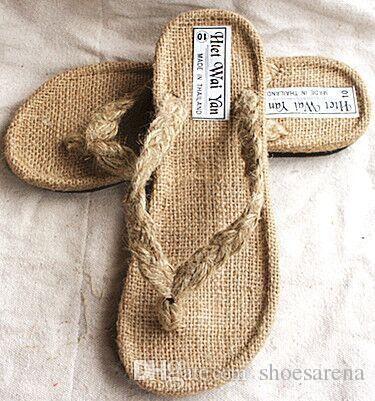 48f972e743c9c Size 36 46 Men Women Beige Hemp Handmade Rubber Sole Flip Flops ...