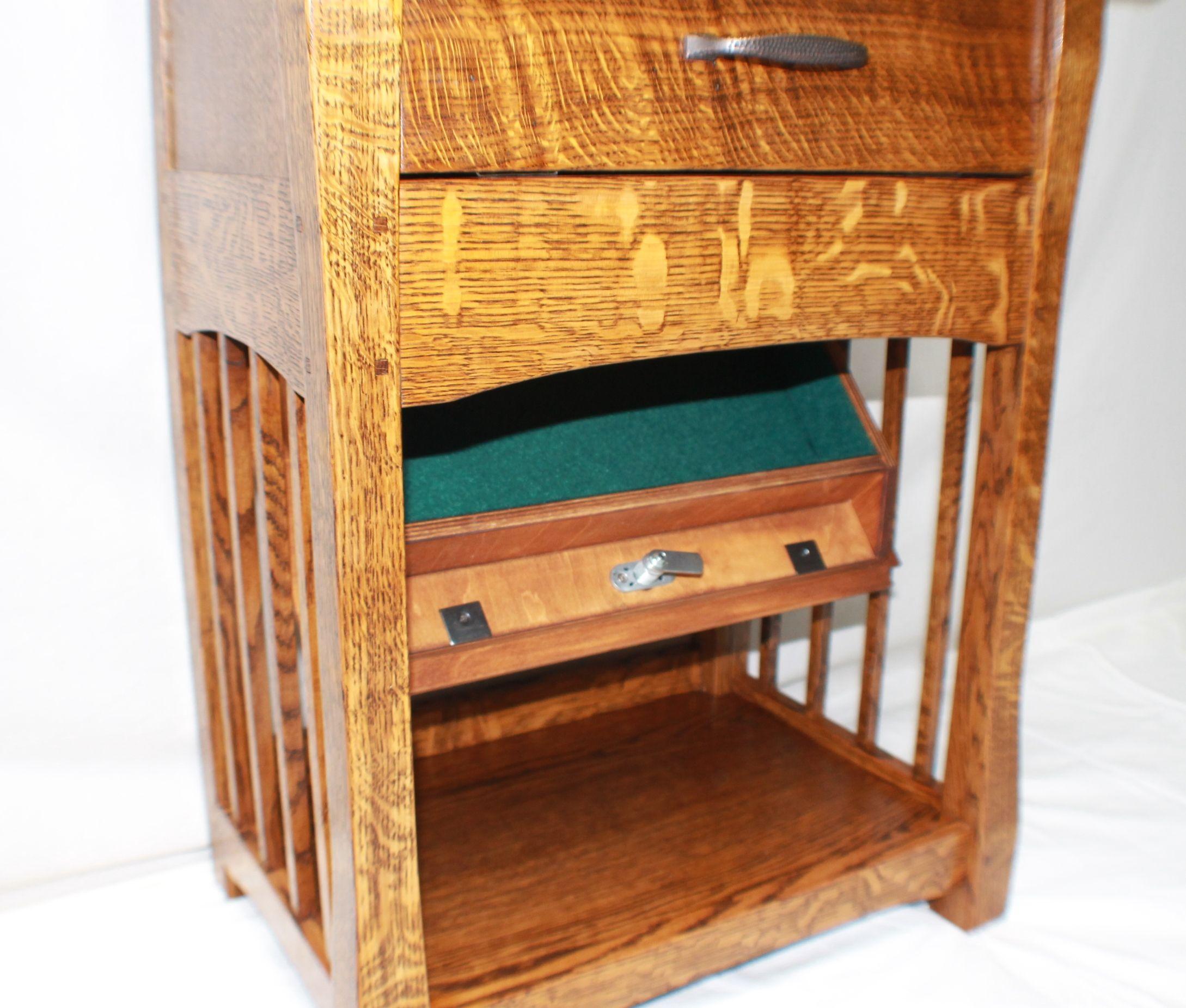 Bedside nightstand hidden lockable secrete partment sized for