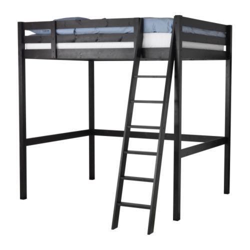 Stor estructura cama alta negro camas litera y dormitorio for Estructura de cama alta ikea