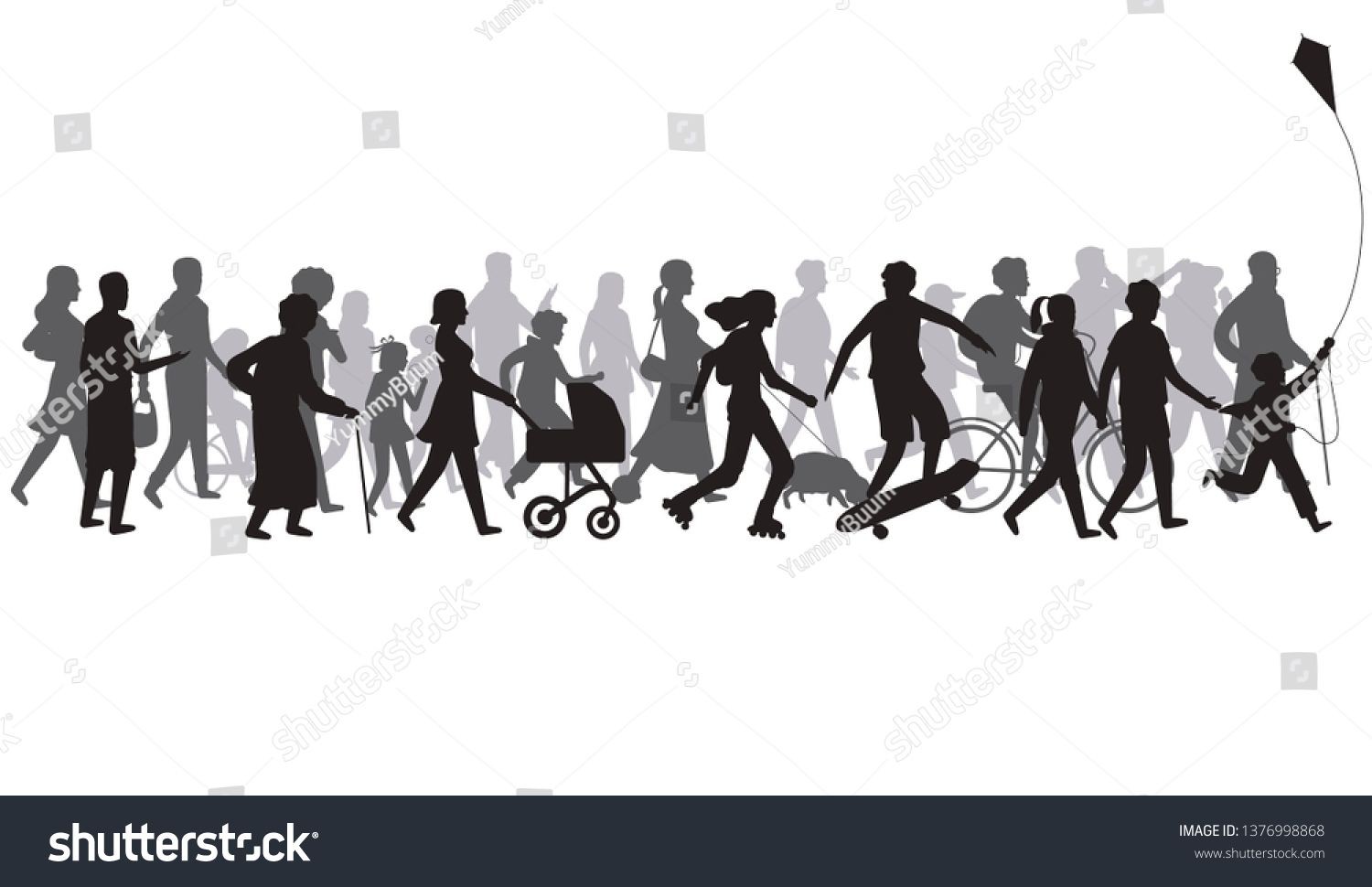 People Crowd Silhouette Group Of Person With Shadows Walk Family