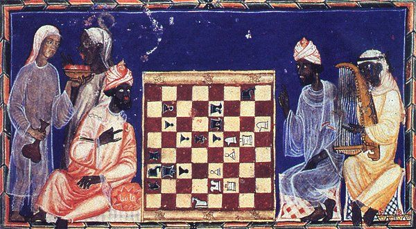 Moors playing chess, from Alfonso X's Book of Chess.