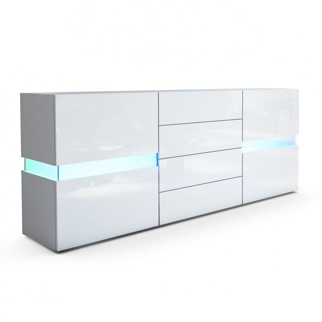 Hochglanz Sideboard Weiß Flow Sideboard Kommode Mit Ambient Light Optionale Led