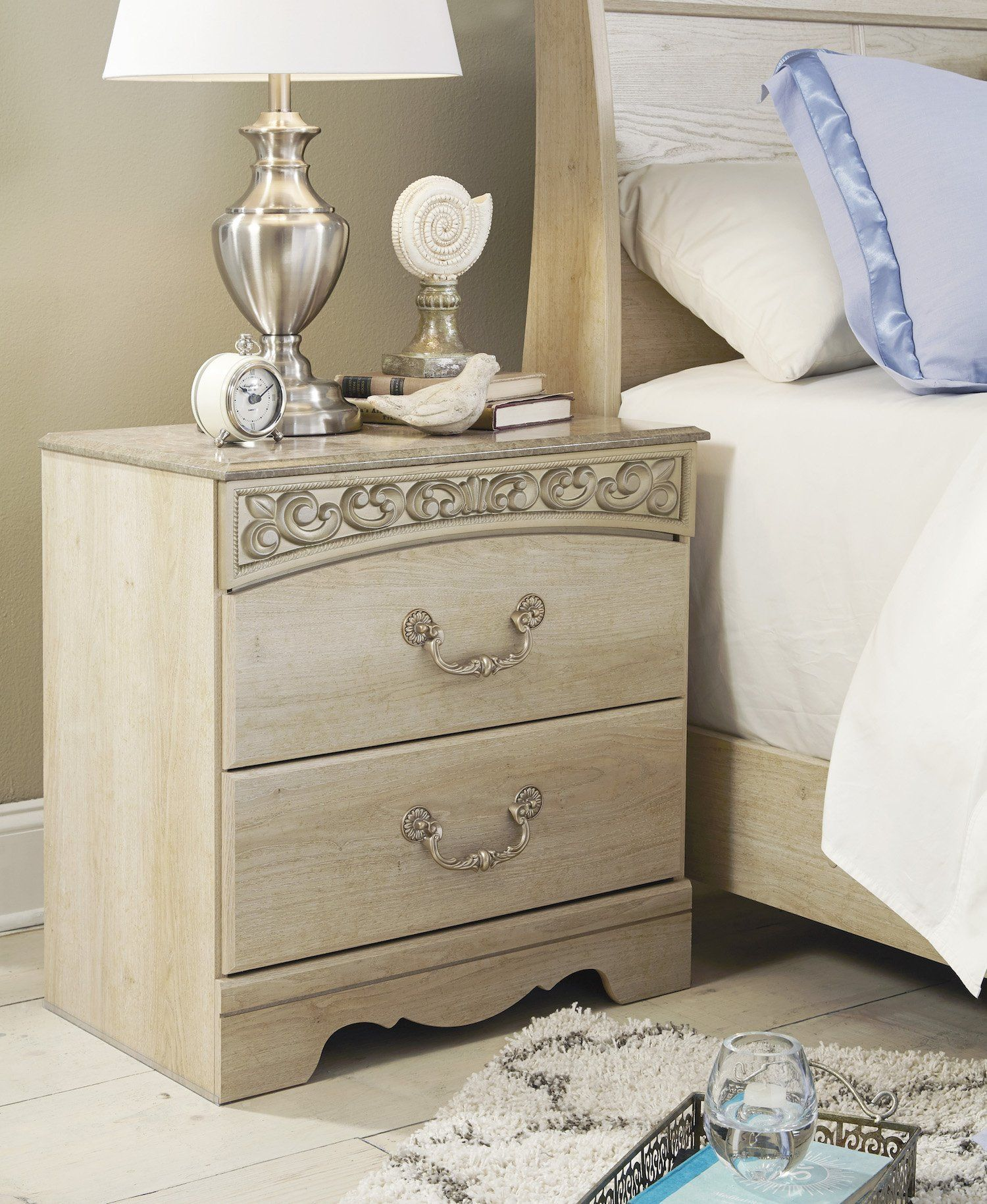 Ashley Catalina Two Drawer Nightstand In Antique White * More