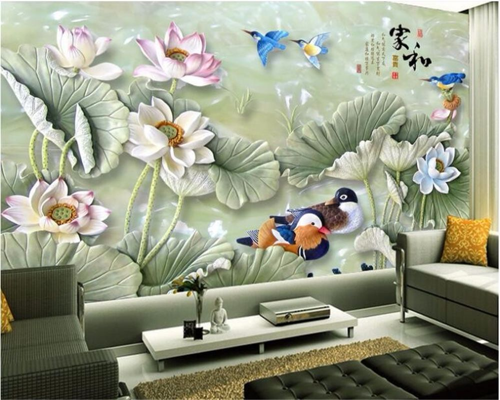 Beibehang Wallpaper For Walls 3 D Custom Large Scale Jade Lotus  -> Tapete Da Sala Karaoke
