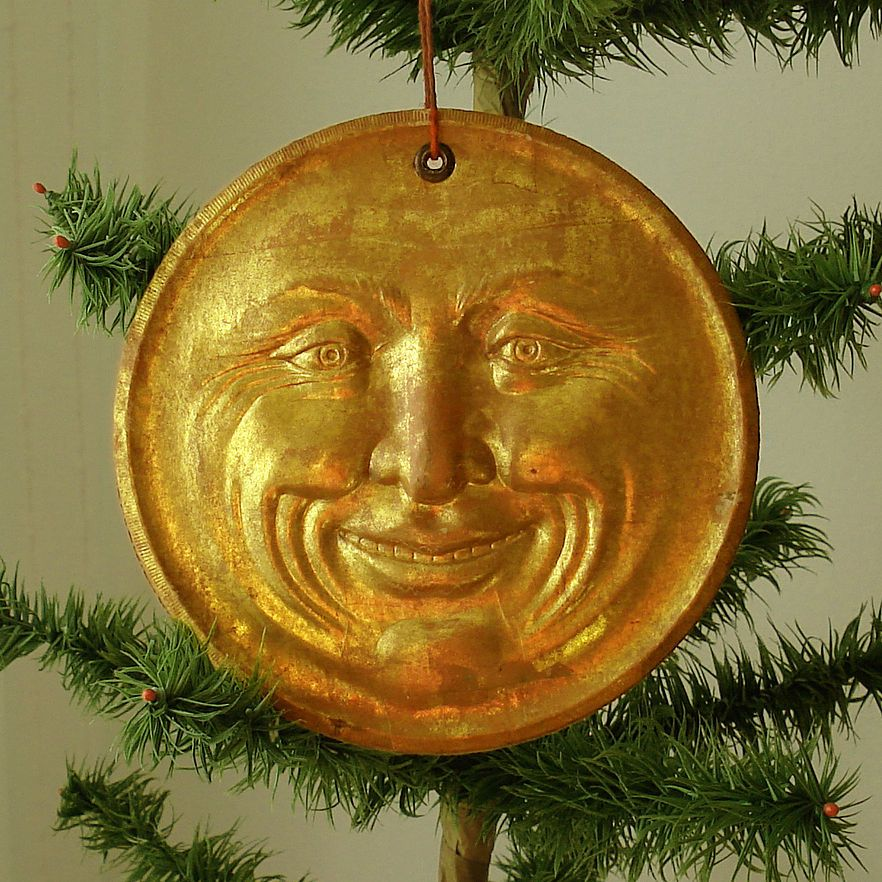 Seltene Dresdner Pappe, großer Mond, 16 cm   Antique Ornaments ...