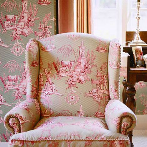 Lovely vintage style pink and green toile fabric covered chair ...