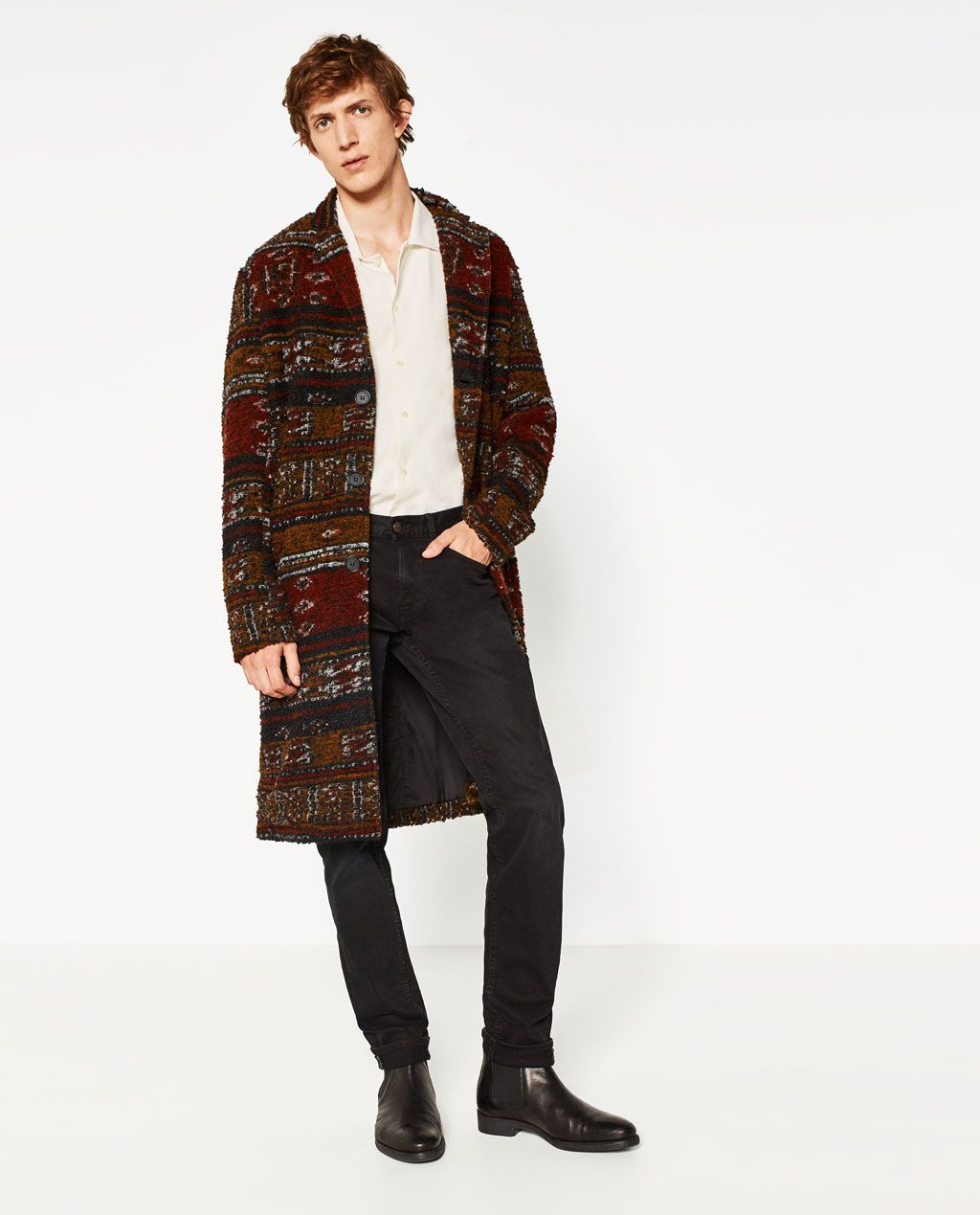 Boucle Coat Outerwear Man Zara United States Modestil Mantel